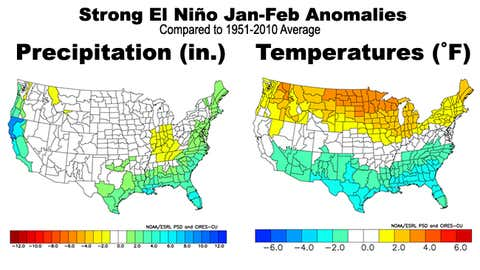 January-February precipitation (left) and temperature (right) anomalies during five previous strongest El Niños.