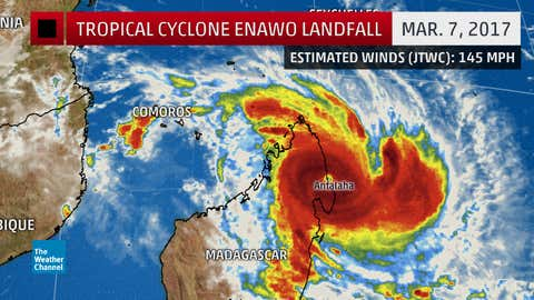 Tropical Cyclone Enawo landfall stats March 7, 2017.
