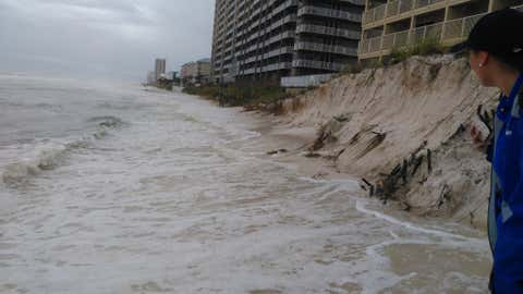 Beach erosion due to Hermine is seen on September 1, 2016 in Panama City Beach, Florida. (Twitter/markmyhra_pcbfl)