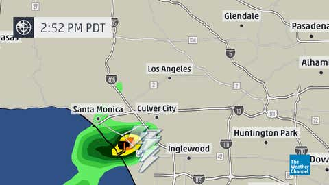 Radar and lightning data showed a rare thunderstorm near Marina del Ray and Los Angeles International Airport at 2:52 p.m. PDT, Sunday, July 27, 2014.