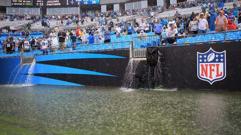 Rain falls on the field during the game between the Carolina Panthers and Jacksonville Jaguars at Bank of America Stadium on Sept. 25, 2011, in Charlotte, N.C.  (Streeter Lecka/Getty Images)