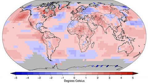 Land and ocean temperature departures (in degrees Celsius) in July 2014, relative to 1981-2010 average temperature. (NOAA/NCDC)