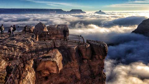 A rare total inversion was seen today by visitors to Grand Canyon National Park. This view is from Mather Point on the South Rim. Cloud inversions are formed through the interaction of warm and cold air masses. (NPS/Erin Whittaker)
