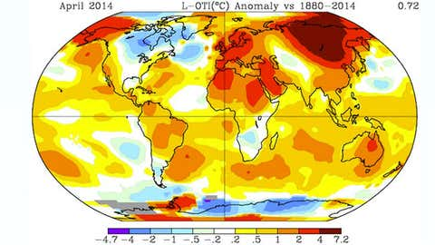 April 2014 global temperature anomalies (degrees C). Warmest/coolest anomalies shown by darkest red/blue shading. (NASA/GISS)