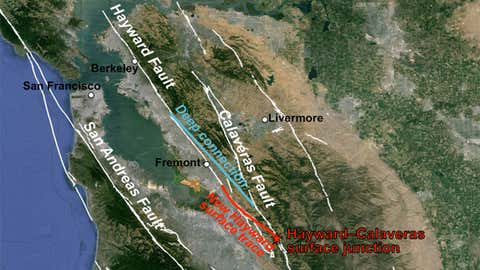 The red line indicates the newly discovered link between the southern end of the Hayward Fault and the Calaveras Fault, once thought to be independent systems. (Estelle Chaussard/UC Berkeley)