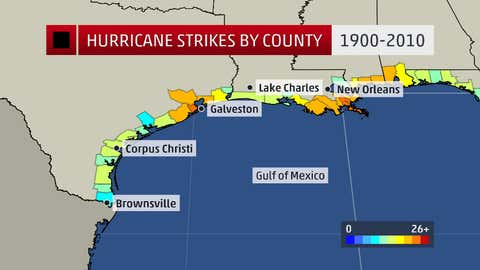 Hurricane strikes by county or parish from 1900-2010 along the western Gulf coast.