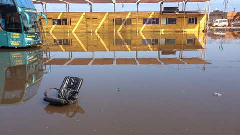 Part of a chair floats in a flooded area of Iquique, northern Chile, on April 2, 2014 after a powerful 8.2-magnitude earthquake hit off Chile's Pacific coast. (Aldo Solimano/AFP/Getty Images)