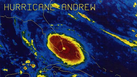 Hurricane Andrew making landfall in southern Florida.