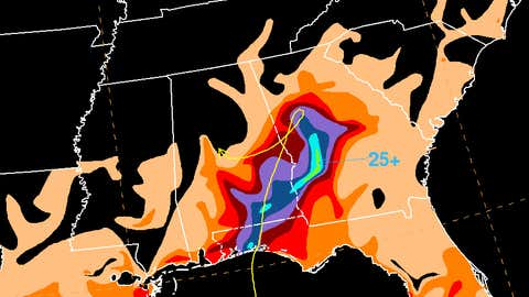 A graphic showing the total rainfall associated with Tropical Storm Alberto in inches.