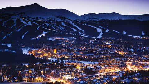 USA, Colorado, Breckenridge, elevated town view from Mount Baldy, dusk
