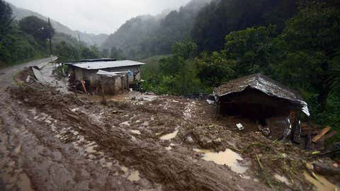 The photo above shows a view of the community of Coscomatepec in Veracruz, Mexico, on August 6, 2016. Six people died in Veracruz after their homes were buried by landslides following heavy rains from Tropical Storm Earl.