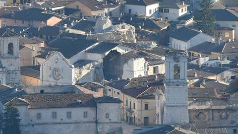 A picture shows the historic center of Norcia with the destroyed Basilica of Saint Benedict on October 31, 2016, a day after a 6.6 magnitude earthquake hit central Italy. It came four days after quakes of 5.5 and 6.1 magnitude hit the same area and nine weeks after nearly 300 people died in an August 24 quake that devastated the tourist town of Amatrice at the peak of the holiday season. (Alberto Pizzoli/AFP/Getty Images)