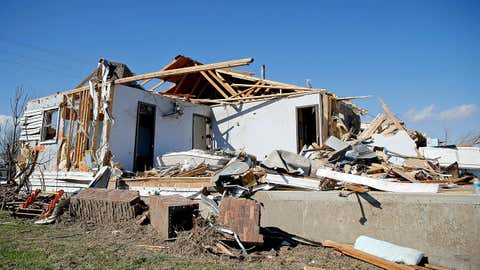 A house along Pcr 906 was destroyed during last night's tornado on March 1, 2017 in Perryville, Missouri. At least one person was killed when the tornado crossed interstate 55. (Jon Durr/Getty Images)