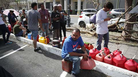 Edgar Morales sits and waits in line to get gas as he deals with the aftermath of Hurricane Maria on September 26, 2017 in San Juan Puerto Rico.  Puerto Rico experienced widespread damage, including most of the electrical, gas and water grid after Hurricane Maria, a category 4 hurricane, devastated the island. (Joe Raedle/Getty Images)