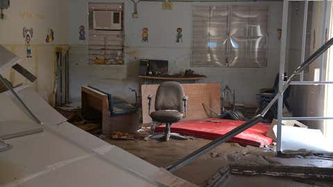 View of a damaged classroom in a school in Toa Baja, on October 2, 2017. 