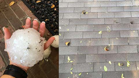 Softball-size hail (left) punched holes in a roof (right) in Wylie, Texas, on April 11, 2016. (Mary Ann Olson and Wes Stephens)