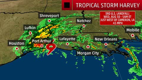 Tropical Storm Harvey final landfall around 4am CT, August 30, 2017, near Cameron, Louisiana.