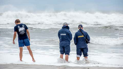Robert Moses life guards observe increases swells at Robert Moses beach ahead of Tropical Storm Hermine's anticipated arrival, Sept. 5, 2016. (Johnny Milano/weather.com)