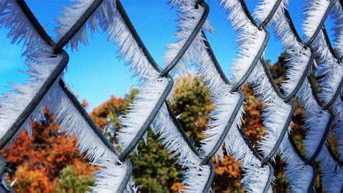 Hoarfrost and fall foliage on Oct. 19, 2015 near Corning, New York. (Photo credit: Colleen Hart/The Weather Channel Facebook page)