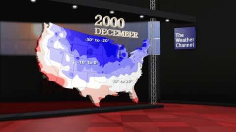 Coldest observed temperatures in December 2000.