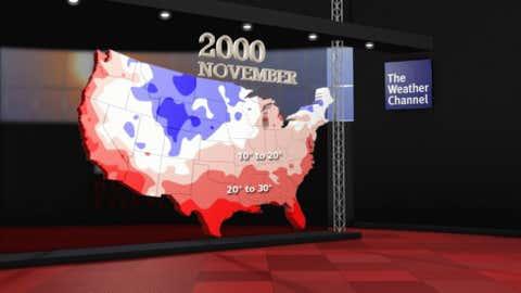 Coldest observed temperatures in November 2000.