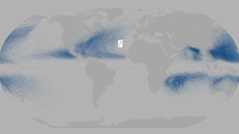 Tracks of all global known global tropical cyclones from 1842 through January 2016. The track of Hurricane Alex in January 2016 is highlighted. (NASA/Joshua Stevens)