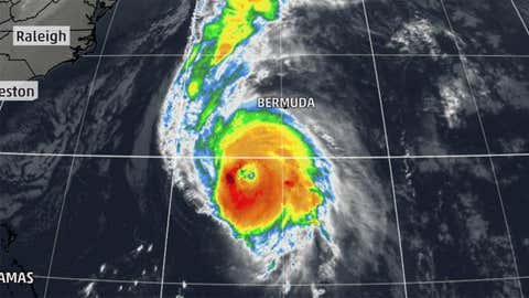 Infrared satellite image of Hurricane Gonzalo in 2014.