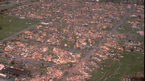 An aerial view of Dade County, Florida published on August 24, 1992, showing damage from Hurricane Andrew, a category 5 hurricane which devastated the state in 1992, and one of the most destructive hurricanes in the history of the United States. Hurricane Andrew did extensive damage to homes in South Florida, leaving little behind in its wake. One million people were evacuated and 54 died in this hurricane. Hurricane Irma, which is headed towards South Florida, is slated to cause more damage than Andrew. (Credit: Bob Epstein, FEMA News Photo)