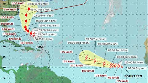 Hurricane Jose's projected track as of 6 a.m. September 15, 2017. (Canadian Hurricane Centre)
