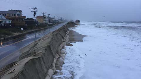 Beach erosion in Kitty Hawk, North Carolina, along Highway 12 on September 26, 2015. (OBX Sunrise/Facebook)