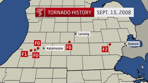 A graphic showing confirmed tornadoes in Michigan, related to Hurricane Ike.