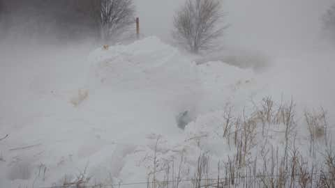 Jimmy and Betty Anderson were trapped under this 12-foot snow drift for 20 hours on Saturday night into Sunday afternoon before they were finally rescued by locals and rescue workers. (Bill Kshir)