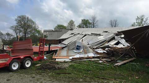 A tornado damaged a barn near Zionsville, Indiana, on Thursday. (Boone County Sheriff)