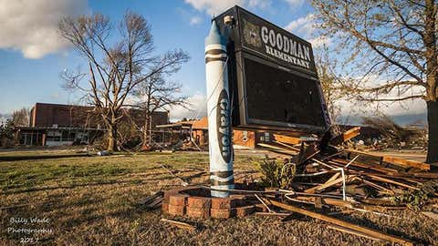 Storm damage remains on April 6, 2017, at Goodman Elementary School after Goodman, Mo. was hit by a tornado. (@mostormchaser2010/instagram)