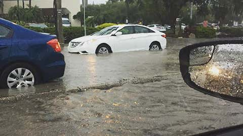 Floodwaters rise in Tampa, Fla., making the commute difficult on the morning on Monday, Aug. 3, 2015. (@jshmoe/instagram)