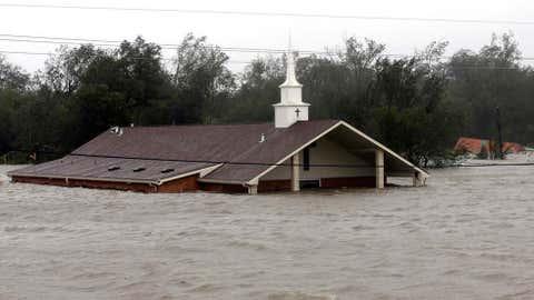 A church is flooded as Hurricane Isaac hits Wednesday, August 29, 2012, in Braithwaite, Louisiana.