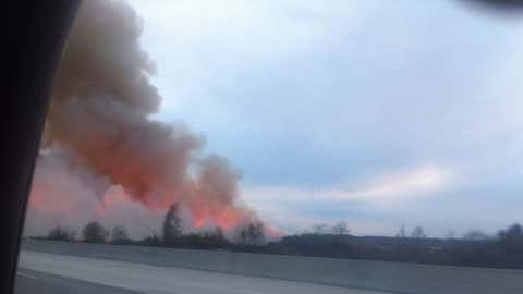 A brush fire near I-95 in Georgia in February 2012.