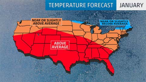 January 2017 temperature outlook from The Weather Company, an IBM Business, released September 23, 2016.