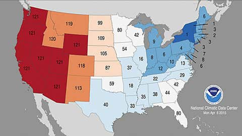 Statewide temperature rankings in the January-March 2015 period relative to previous January-March periods dating to 1895. States in darkest blue had a record cold Jan-Mar period, while those in darkest red experienced a record warm such period. (NOAA/NCDC)