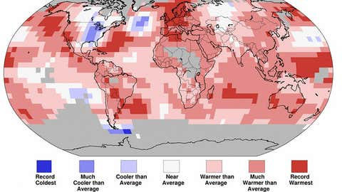 Land and Ocean Temperature Percentiles January - November 2014. (NOAA/NCDC)