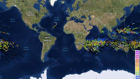 Tracks of all known January global tropical cyclones in the historical record. (NOAA/CSC)