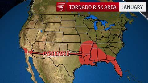 The 1991-2015 average number of January tornadoes in the U.S. is 36. (USTornadoes.com)