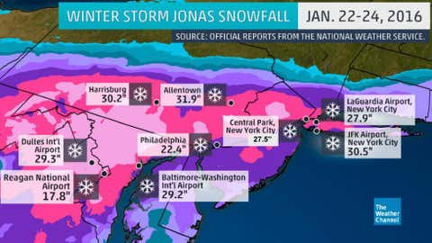 Winter Storm Jonas final snowfall totals, including NYC revision, from January 22-24, 2016.