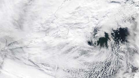 High-resolution visible satellite image of the center of Winter Storm Juno on Jan. 27, 2015.