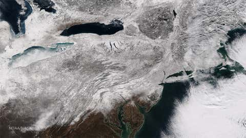 Satellite image of Winter Storm Juno's snow cover on Jan. 28, 2015 at 1:50 p.m. ET.