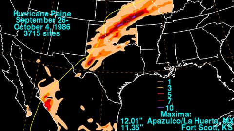Sept. 26-Oct. 4, 1986 rainfall amounts associated with Hurricane Paine.