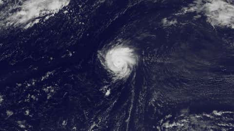 Tiny Hurricane Kirk was spinning over the central Atlantic on August 30, 2012.