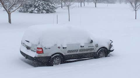 The Scottsbluff, Nebraska area received approximately six inches of snow from Winter Storm Leo. (@NSP_TroopE/Twitter)