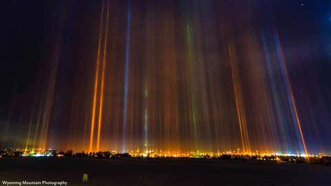 Light pillars visible over Pinedale, Wyoming, on January 24, 2017. (David J. Bell/Wyoming Mountain Photography)
