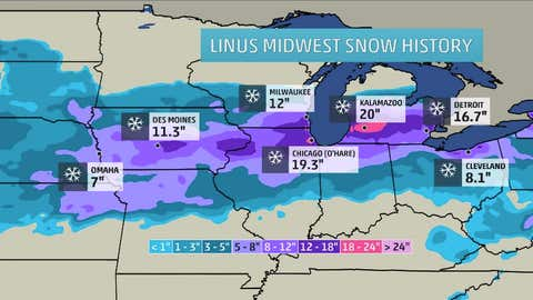 Plotted snow amounts are snow totals from Linus in the Midwest through Feb. 2, 2015. The contours on the map are estimates of snowfall across the region.